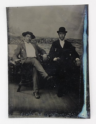 Image of Full-length study of two seated men